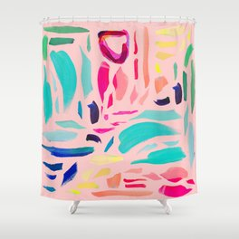 Brush Gems 1 - A deconstructed painting Shower Curtain