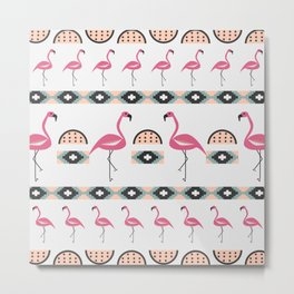 Summer decor with flamingo birds Metal Print