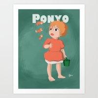 ponyo Art Prints featuring Ponyo by Hannahviera