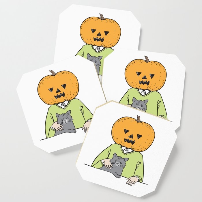 Pumpkinhead & cat Coaster
