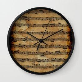 Grunge Sheet Music Music-lover's Design Wall Clock