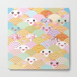 seamless pattern Kawaii with pink cheeks and winking eyes with japanese sakura flower Metal Print
