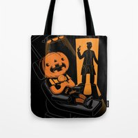 dentist Tote Bags featuring Are You Afraid of the Dentist? by Marco Angeles