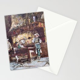 12,000pixel-500dpi - Adolphe Monticelli - The Kitchen of the Rotisserie des Deux Paons Stationery Cards