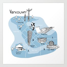 Mapping Vancouver - Blue Art Print