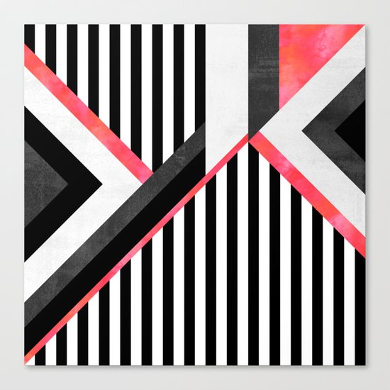Stripe Combination / Pink Canvas Print