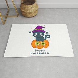 HAPPY HALLOWEEN CAT/PUMPKIN Rug