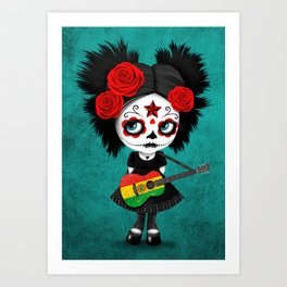 Day of the Dead Girl Playing Bolivian Flag Guitar Art Print