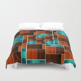 Geometric Puzzle (Aqua/Orange) Duvet Cover