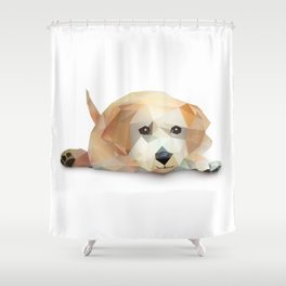 Low Poly Yellow Lab Shower Curtain