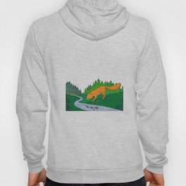 Fox Drinking River Woods Creek Drawing Hoody