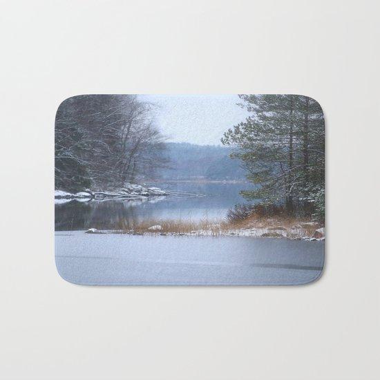 Blue Moment By The Lake  Bath Mat