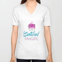 fangirl V-neck T-shirts featuring Certified Fangirl  by Abookutopia