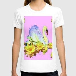 White Swan & Yellow Water Lilies Pink Art  Fantasy T-shirt