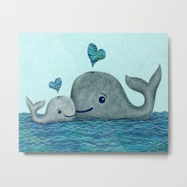 Whale Mom and Baby with Hearts in Gray and Turquoise Metal Print