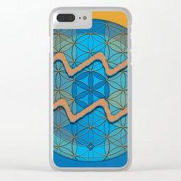 Flower of Life AQUARIUS Astrology Design Clear iPhone Case