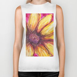 Cheery Yellow Flower Biker Tank