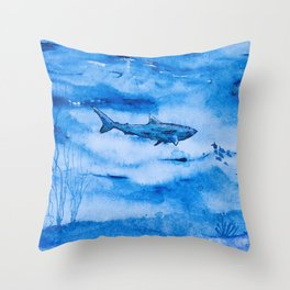 Great white in blue Throw Pillow