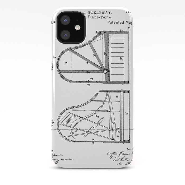Steinway Grand Piano Patent Piano Player Art Black And White Iphone Case By Patentpress