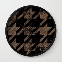 Vintage Houndstooth black and brown Wall Clock