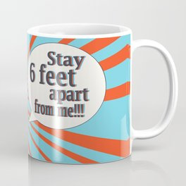 Pop art retro woman in face mask, Stay 6 feet apart from me Coffee Mug