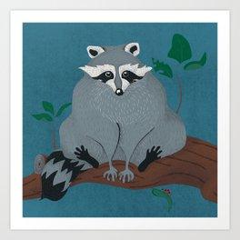 Cute City Raccoon in Tree Art Print