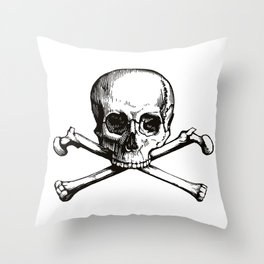 Skull and Crossbones | Jolly Roger | Pirate Flag | Black and White | Throw Pillow