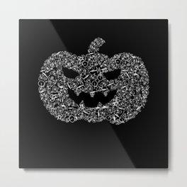 Pumpkin From Bicycles Bicycle Halloween Metal Print
