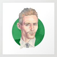 tom hiddleston Art Prints featuring Hiddleston by Megan Diño