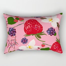 Strawberry, blackberry and vanilla flower. Red berries pattern with pink background Rectangular Pillow