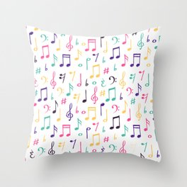 Colorful Music Notes Pattern Throw Pillow