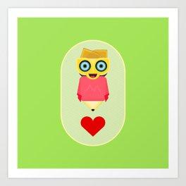 Robot PencilGirl Art Print