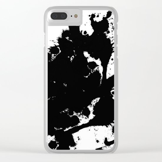 Black and white splat - Abstract, black paint splatter painting Clear iPhone Case
