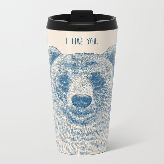 Bear (Ivory) Metal Travel Mug