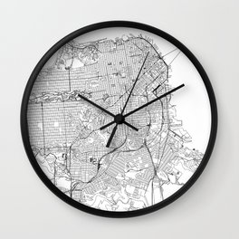 San Francisco White Map Wall Clock