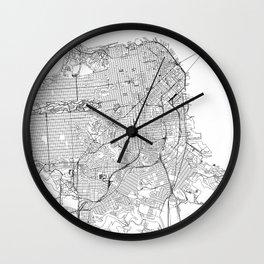San Francisco White Map Wall Clock
