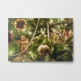 Golden Noel Metal Print