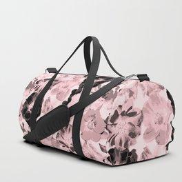 Geometric Fragmented Wild Rose Pattern Millennial Pink Duffle Bag