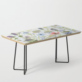 Floral Watercolor Botanical Cottage Garden Flowers Bees Nature Art Coffee Table