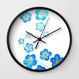blue forget me not watercolor 2017 Wall Clock
