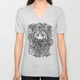 Tiger Tangle in Black and White Unisex V-Neck