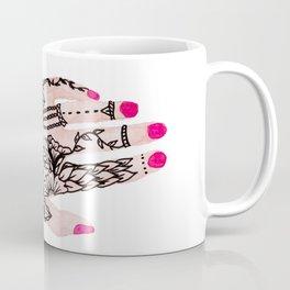 Modern watercolor hand  floral henna tattoo pink nails Coffee Mug