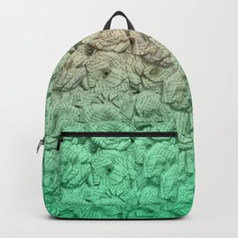 Pastel Green Ombre Book Flowers Backpack