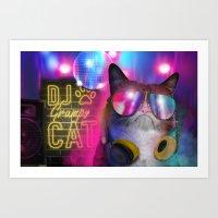 DJ Grumpy Cat  Art Print