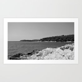 coastline bay at summer pula croatia istria black white Art Print