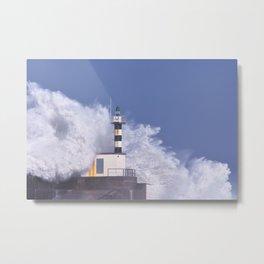 Stormy wave over lighthouse of San Esteban de Pravia. Metal Print
