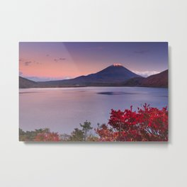 I - Last light on Mount Fuji and Lake Motosu, Japan Metal Print