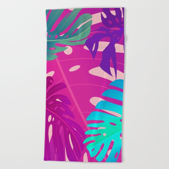 Colorful monstera leaves 1 Beach Towel