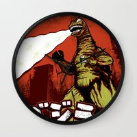 godzilla Wall Clocks featuring Godzilla by HAZZAH!
