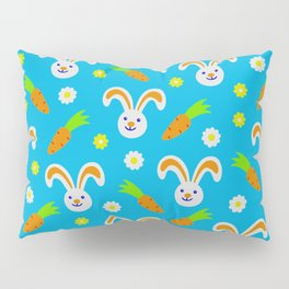 Easter Bunny and Carrots Pattern Pillow Sham